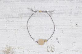 WOODEN Bracelet Wood & Brass Circle on Silk