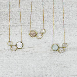 GEMSTONE Necklace short Open Hexagons
