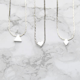 NECKLACE short silver geometric Shapes