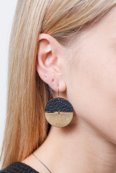 EARRING Semi Circle Black & Gold