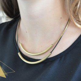 LEATHER Necklace short Tube Black & Gold