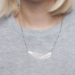 NECKLACE short silver Polygon lasered