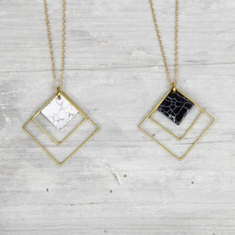 NECKLACE long Marble Squares