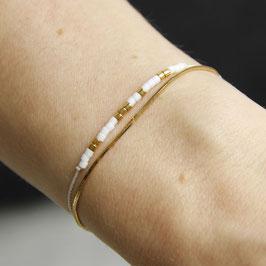 BRACELET Miyuki Beads 24K Gold double Bracelet Gold&White