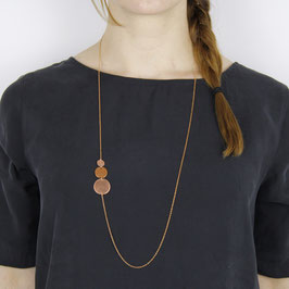 COPPER Necklace long Circles