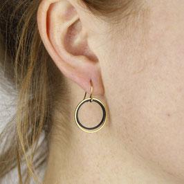 EARRINGS Open Circle Black & Gold