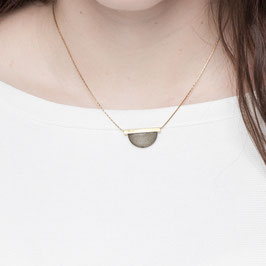 WOODEN Necklace short Brass Tube & Wood Semi Circle