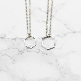 NECKLACE short silver Hexagon