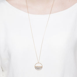 NECKLACE long Semi Circle hammered asymmetrical