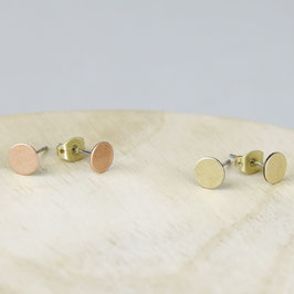 STUDS simple Circles Copper or Brass