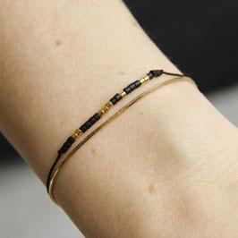 BRACELET Miyuki Beads 24K Gold double Bracelet Gold&Black