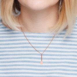 COPPER Necklace short Bar & Circle