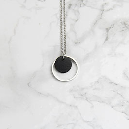 NECKLACE long Circles Black & Silver