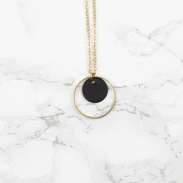 NECKLACE long Circle Black & Gold