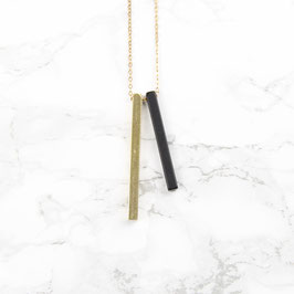 NECKLACE long Bars Black & Gold