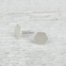 STUDS silver Hexagon smooth