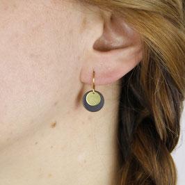 EARRINGS Circle Black & Gold
