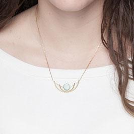 GEMSTONE Necklace short Wire Gemstone Coin Bead