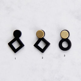 WOODEN Studs Square & Circle Black