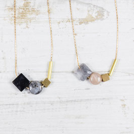 GEMSTONE Necklace short asymmetrical Shapes
