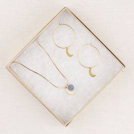GIFT SET Necklace Moon and Gem & Hoops Moon