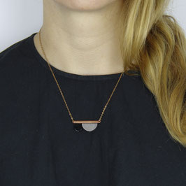 COPPER Necklace short asymmetrical Shapes