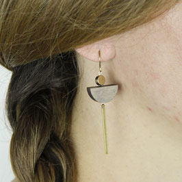 WOODEN Earring Half Circle Bar