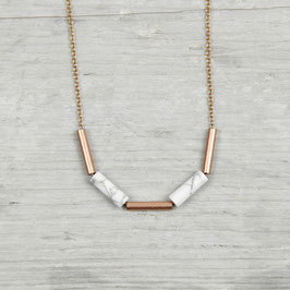 COPPER Necklace short Gems and Tubes