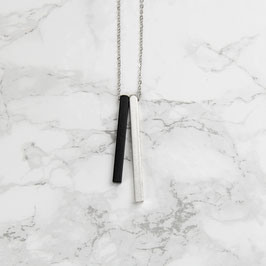 NECKLACE long Bars Black & Silver