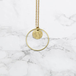 NECKLACE long hammered Circle in Circle