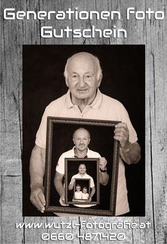 Gutschein Generationenfoto ink. Rahmen 40 cm x 50 cm und Print