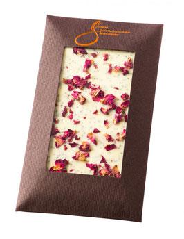 Weiße Schokolade Rosen u. Mohn 100g Tf.