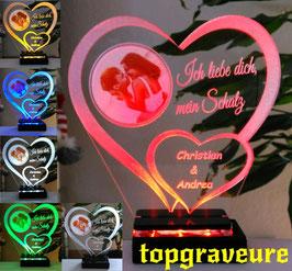 Liebe Geschenk IHR FOTO+TEXT Herz Valentinstag Geburtstag Beleuchtung LED-Licht