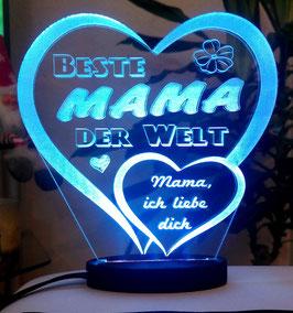 Herz Muttertag Geschenk Geburtstag graviert mit Ihrem Namen und LED-Licht* Liebe