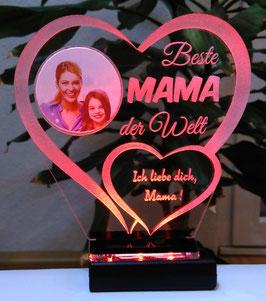 Beste Mama Alles Gute Liebe IHR FOTO+TEXT Muttertag Geburtstag Liebe LED-Licht