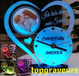 Liebe Valentinstag Geschenk IHR FOTO+NAME+UHR Geburtstag Hochzeitstag LED-Licht