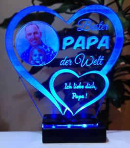 Bester Papa IHR FOTO+TEXT Vatertag Geschenk Geburtstag Liebe LED-Licht