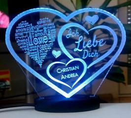 HERZ LIEBESERKLÄRUNG VALENTINSTAG LED-LICHT mit Ihrem Namen eingraviert LIEBE**