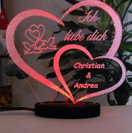 ACRYL HERZ ICH LIEBE DICH LED-LICHT und Ihrem Namen eingraviert-Liebeserklärung
