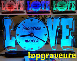 Liebe Valentinstag Geschenk IHR NAME+UHR Geburtstag Hochzeitstag Herz LED-Licht
