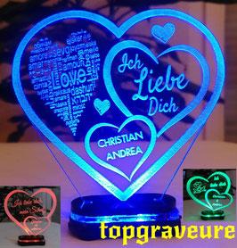 Liebe Valentinstag Geschenk IHR NAME Geburtstag Hochzeitstag Herz LED-Licht