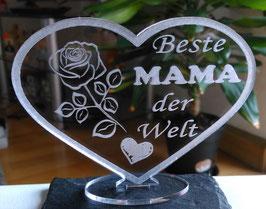 HERZ BESTE MAMA - MUTTERTAG GESCHENK ACRYL BESTE MAMA GEBURTSTAG LIEBE