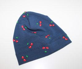 Beanie Jersey blau Kirschen