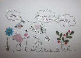 Namenskissen - Kuschelkissen - Doodle Stickerei Elefant 30x45 cm -Taufe - Geburt