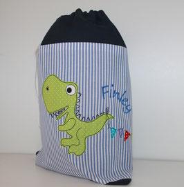Sportbeutel mit Namen und Doodle Stickbild T-Rex