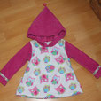 Zipfelkapuzen Pullover Gr. 92 Eule Weiss Pink