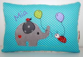 Kuschelkissen mit Name und Motiv Elefant, Luftballons & Glückskäfer