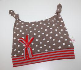 Zipfelmütze Jersey Taupe Sterne mit 2 Zipfeln Kopfumfang 45 cm