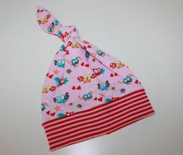 Zipfelmütze Jersey Rosa bunte Eulen Kopfumfang 36 cm