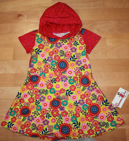 Schönes buntes Jerseykleid mit Kapuze Gr. 98/104 Blumen Punkte